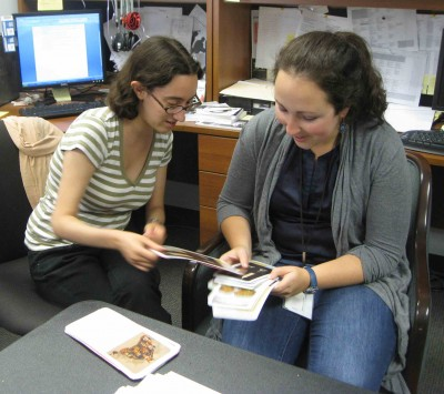 Museum Education Interns Emma Glaser and Arielle Kaden discussing which cards should be used in the matching game.