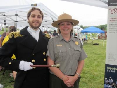 Mendes meets Facebook friend Ranger Abbi Wicklein-Bayne at the Battle of Bladensburg Commemoration.