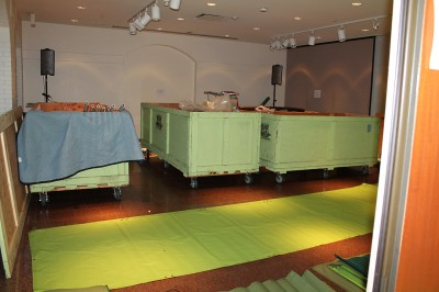 Our orientation space which serves so many purposes became our temporary storage space for the crates.