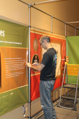 Kelly spent much of the day working on exhibit interactive and straightening maze walls and panels.