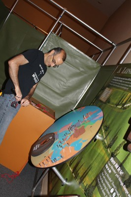 We left most of the heavy duty installation jobs to Kelly. Here he is installing one of the exhibit's many interactive, a map where visitors can take a stab at tracing Mendes' journey.