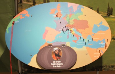 You can take a hands-on approach to mapping Mendes' journeys in the exhibit!