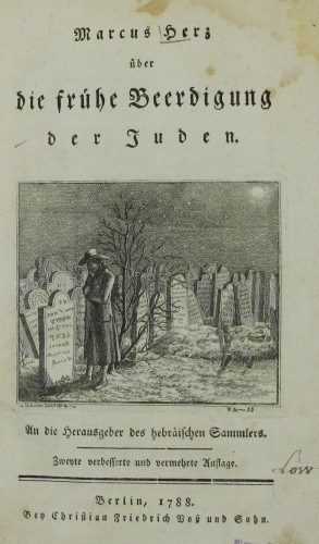 Title page, Uber die fruhe Beerdigung der Juden (On the Premature Burial of the Jews), by Marcus Herz, 1787. Courtesy of The National Library of Israel, Jerusalem.