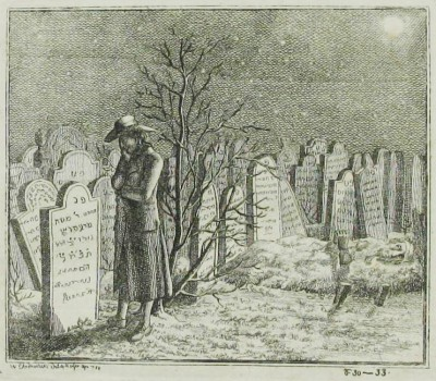 Detail, Uber die fruhe Beerdigung der Juden. You may need to enlarge this image to see how the man's entire upper body seems to be emerging from the mound of dirt on his grave in the background. Courtesy of The National Library of Israel, Jerusalem.