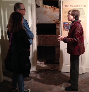 "Wendy gives a tour of our ""Synagogue Speaks"" exhibit, located in the basement of the historic Lloyd Street Synagogue."