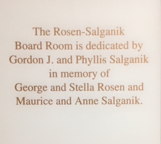 Plaque in the JMM Board Room
