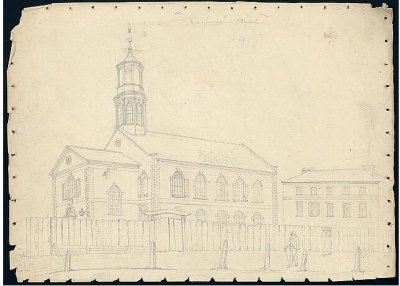 John Rubens Smith (1770-1840). Jews Synagogue in Charleston [Beth Elohim], ca. 1812.