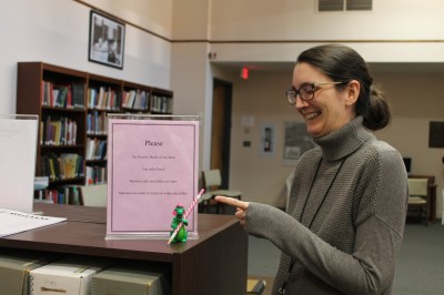 Collections Manager Joanna Church made sure to fill Elliot in on all the rules for using collections!
