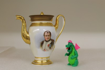 Getting the side-eye from Napoleon Bonaparte himself!   Teapot from porcelain tete-a-tete teaset by Nast of Paris, c. 1840, JMM 1989.145.006.
