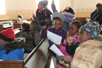City Springs Elementary School students in the Lloyd Street Synagogue.