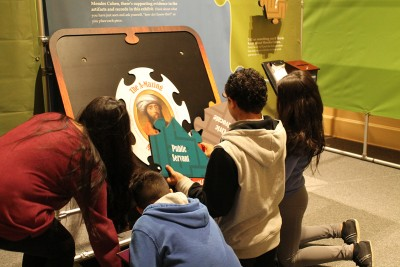 John Ruarah Middle School students explore The A-Mazing Mendes Cohen exhibit.