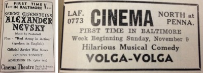 Ads for the drama, Alexander Nevsky (from the BJT 9/5/41 issue, p. 19, vol. 44) and the musical comedy Volga-Volga (from the BJT 11/7/41 issue, p.19, vol. 45). Both films were popular in the Soviet Union.
