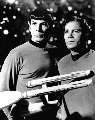 Publicity photo of Leonard Nimoy and William Shatner as Mr. Spock and Captain Kirk from the television program Star Trek, 1968. Courtesy of NBC Television.