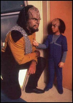 Worf and his son Alexander on the Enterprise. Via flickr user bootsartemis.