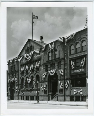 The Hendler Creamery building, decked out for the company's golden anniversary. JMM 1998.47.21.3