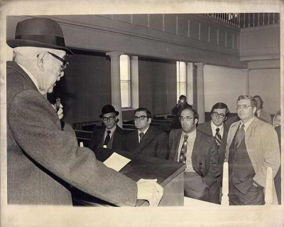Lester Levy and audience during the Lloyd Street Synagogue restoration dedication, 1962. Donated by Janet Fishbein (daughter of Susan Levy Bodenheimer), Ellen Patz, Ruth Gottesman & Vera Mende. JMM#2002.079.034