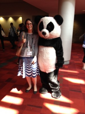 I'm not personally a fan of costumed mascots, but I couldn't resist posing with Zhu Zhu from Zoo Atlanta.