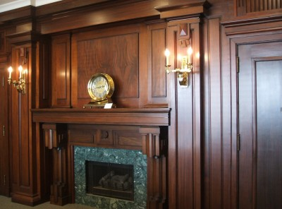 The fireplace wall of the JMM's Rosen-Salganik Board Room, May 2015.