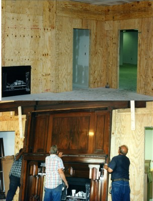 Two views of the paneling installation, July 1997.  JMM# IA 3.0491, IA 3.0526