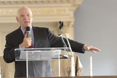 Senator Ben Cardin address the Annual Meeting crowd inside the Lloyd Street Synagogue. Photo by Will Kirk.