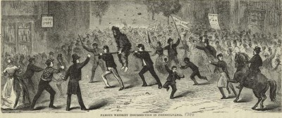 """Famous whiskey insurrection in Pennsylvania"", an illustration from Our first century: being a popular descriptive portraiture of the one hundred great and memorable events of perpetual interest in the history of our country by R. M. Devens (Springfield, Mass, 1882). Image courtesy of the New York Public Library via Wikipedia.org."