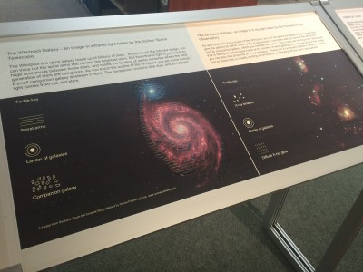 This exhibit, about galaxies, is tactile; it has raised graphics and paragraphs in Braille so that the blind can understand the information that it conveys.