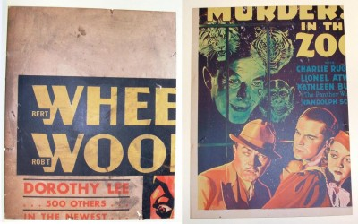 Two movie poster fragments, printed on cardboard. Donated by Bernard Levin, 2014.44.2, 2014.44.4