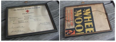 Front and back of Bernard Levin's 1933 First Aid certification, in original frame. Donated by Bernard Levin, 2014.44.2