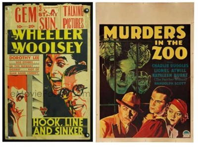 "Here's what the full posters look like. Window cards were designed with blank space at the top, where theaters could post showtimes (as has been done for ""Hook, Line and Sinker"" here). What I took to be a villainous eyeball in the corner of the Wheeler and Woosley fragment proved to be simply a lecherous eyeball, aimed at Dorothy Lee; hmmm.  And I must point out that ""Murders in the Zoo"" actress Kathleen Burke was, for good or ill, billed as ""The Panther Woman."" Images from emovieposter.com and moviepostershop.com."