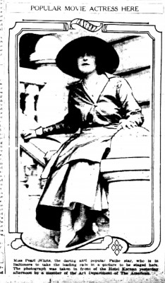Scan of newspaper image of Pearl White.