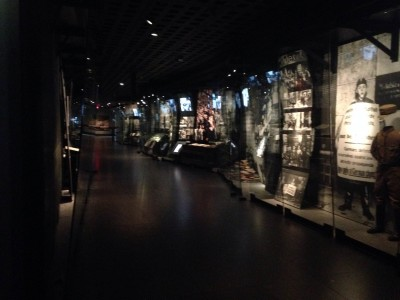 Photo of the interior of the Permanent Exhibit at the United States Holocaust Memorial Museum.