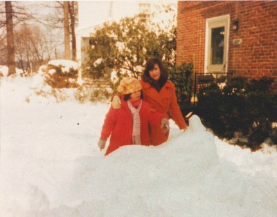 Tracie and her sister Emily, outside in the snow.