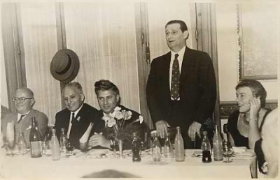 Mapam's leaders greeting to his Excellency Minister Shitrit and Dr. Schwartz, 1956.  From left to right:  Dr. Marcos Satanowsky, his Excellency Minister Shitrit, Mr. Jaime Finkelstein (Leader of the Mapam Party in Argentina), Dr. Joseph Schwartz and Mrs. Schwartz.