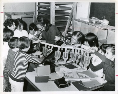 Chanukah crafts at the JCC, circa 1970.  Donated by the JCC.  JMM#2006.013.274b