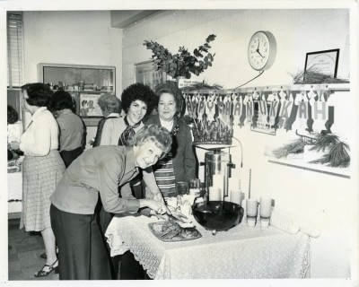 Elayne Fedder, Bernice Friedman, Myrna Cardin, and Belle Legum at the JCC Volunteers' Chanukah Party, circa 1970.  Donated by the JCC.  JMM# 2006.013.456