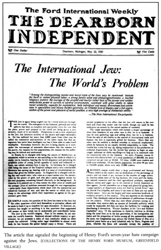 Article The International Jew: The World's Problem in Henry Ford's newspaper The Dearborn Independent, May 22, 1920.