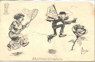 Picture women with nets chasing after fleeing men, ca. 1912, Slate Magazine