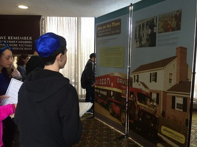 Students viewing the exhibit.
