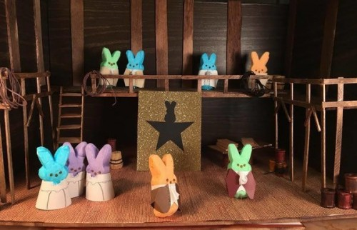 "The opening act of ""Hamilpeep.""  Photo by Kate Ramsayer; diorama by Kate Ramsayer, Helen Fields, and me."