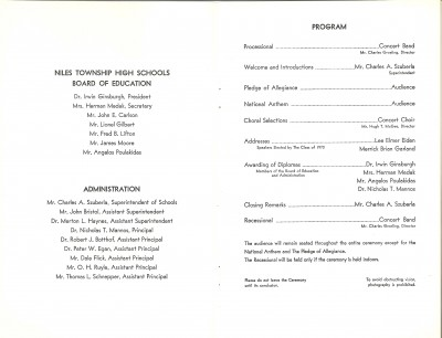 Our Niles West Commencement program – chaos broke out shortly after the choral selection.