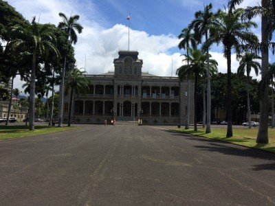 The front of Iolani Palace.