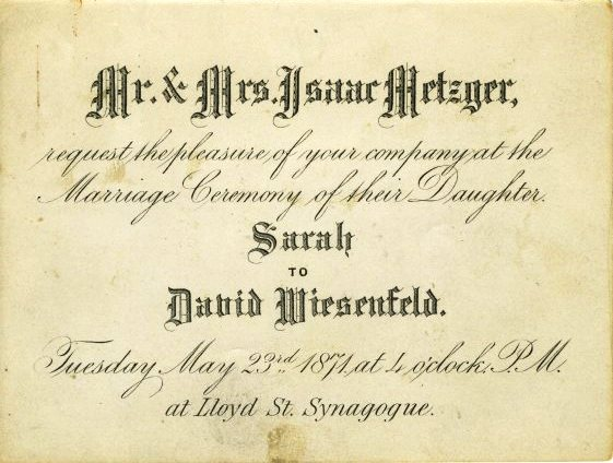 invitation to the marriage of sarah metzger and david