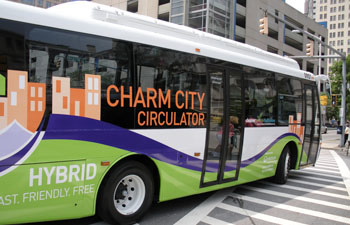 The Charm city circulator a free network of buses spanning the east – west route (orange line) north – south line (purple route) and some other smaller routes (green route, banner route) intended more for tourism.