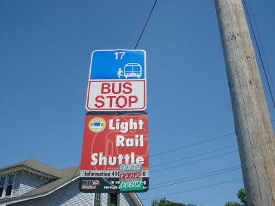 A bus stop for the 17 bus, fairly iconic line as it covers a large area.