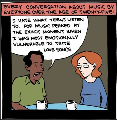 Alice_SMBCaudiencecomic JPEG, caption: Even musicians need to consider audience! Here, the speaker's age alienates him from enjoying pop music. (Original comic can be found at