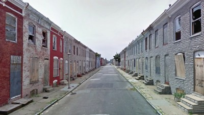 Examples of urban decay are evident all over Baltimore, entire blocks of abandoned homes and structures.
