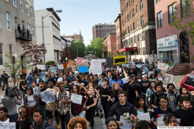 A peaceful protest of local Baltimore citizens after the death of Freddie Gray and the ensuing riots. A prime example of how concerned citizens can come together to address the problems the city faces today.