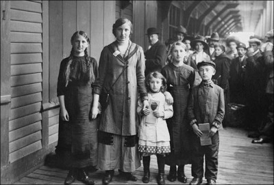 Jewish immigrants on Ellis Island, the main processing center for immigrants entering the United States.