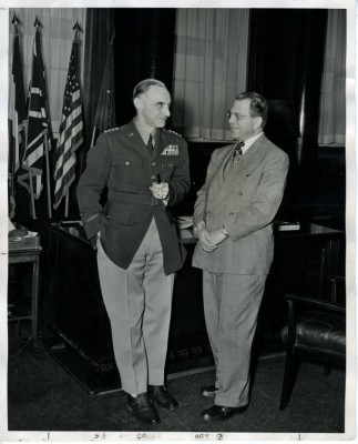 Harry Greenstein (right) and General Lucius D.Clay (left) as General Clay welcomes his newly appointed Advisor on Jewish Affairs, in his Frankfurt, Germany headquarters, February 15, 1949. JMM 1985.174.4
