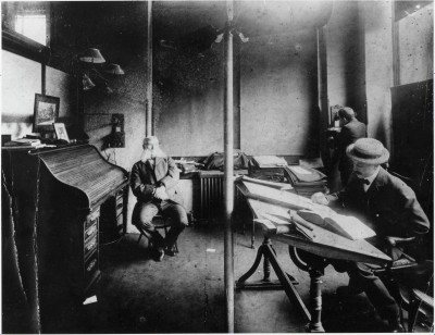 Henry Sonneborn, Siegmund Sonneborn, and unknown man in the Sonneborn Office at corner of Eutaw and German Streets, c.1900. JMM 1991.55.1b